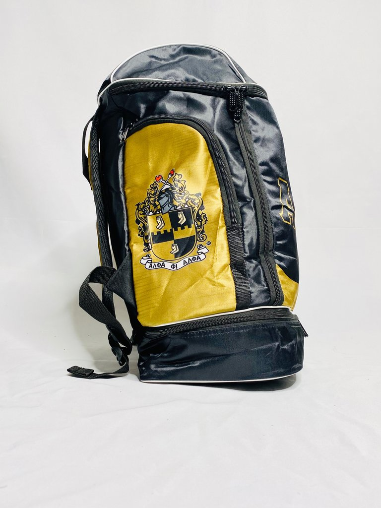 Black & Gold Satin Alpha Backpack