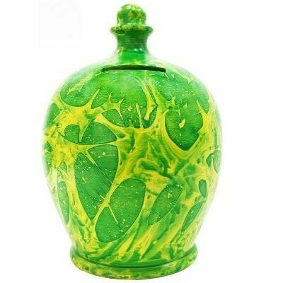 Terramundi Money Pot in Yellow & Green (Made in Italy, Hand Painted in London)