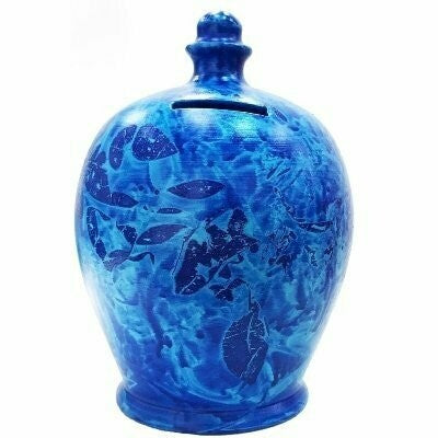 Terramundi Money Pot in Blue & Pale Blue (Made in Italy, Hand Painted in London)