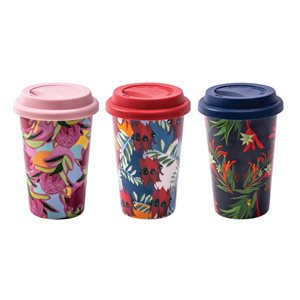 Porcelain 350ml eCup Australian Botanical with Silicone Sleeve & Lid