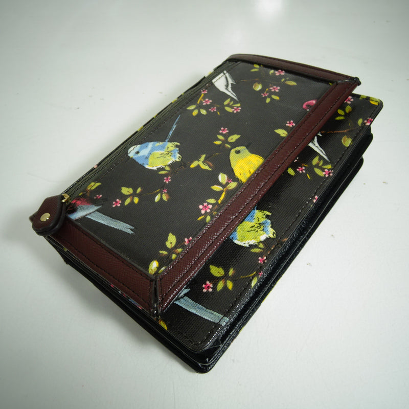 Crossbody or Clutch Wallet with Removable Chain Strap in Black and Native Birds