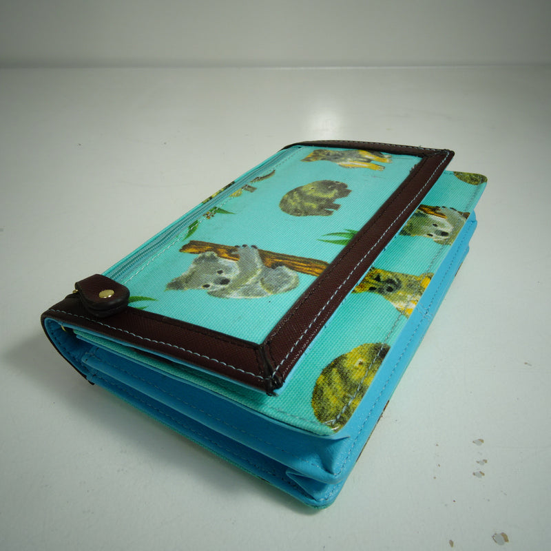 Crossbody or Clutch Wallet with Removable Chain Strap in Native Animal Blue (20x12.5x7)