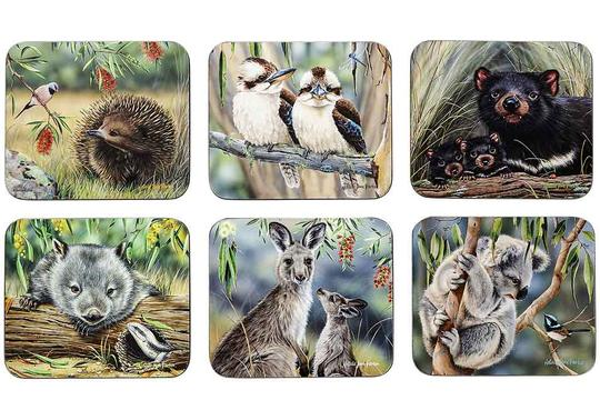 Set of Six Fauna of Australia Coasters