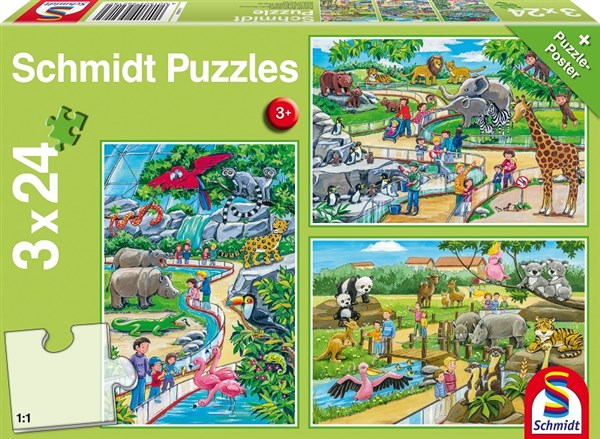 3 x 24 Piece Jigsaw Puzzle 'A Day at The Zoo' - Ages 3+