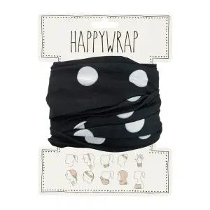 Happywrap for Hair, Head, Wrist or Neck Wrap or Face Mask - Black with White Dots