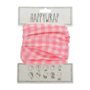 Happywrap for Hair, Head, Wrist or Neck Wrap or Face Mask - Gingham Pink