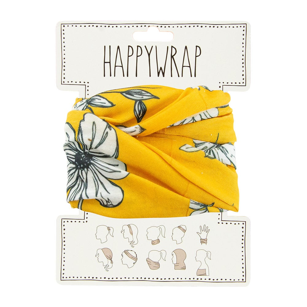 Happywrap for Hair, Head, Wrist or Neck Wrap or Face Mask - Mustard Floral