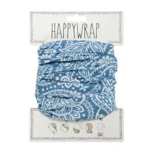 Happywrap for Hair, Head, Wrist or Neck Wrap or Face Mask - Paisley Blue