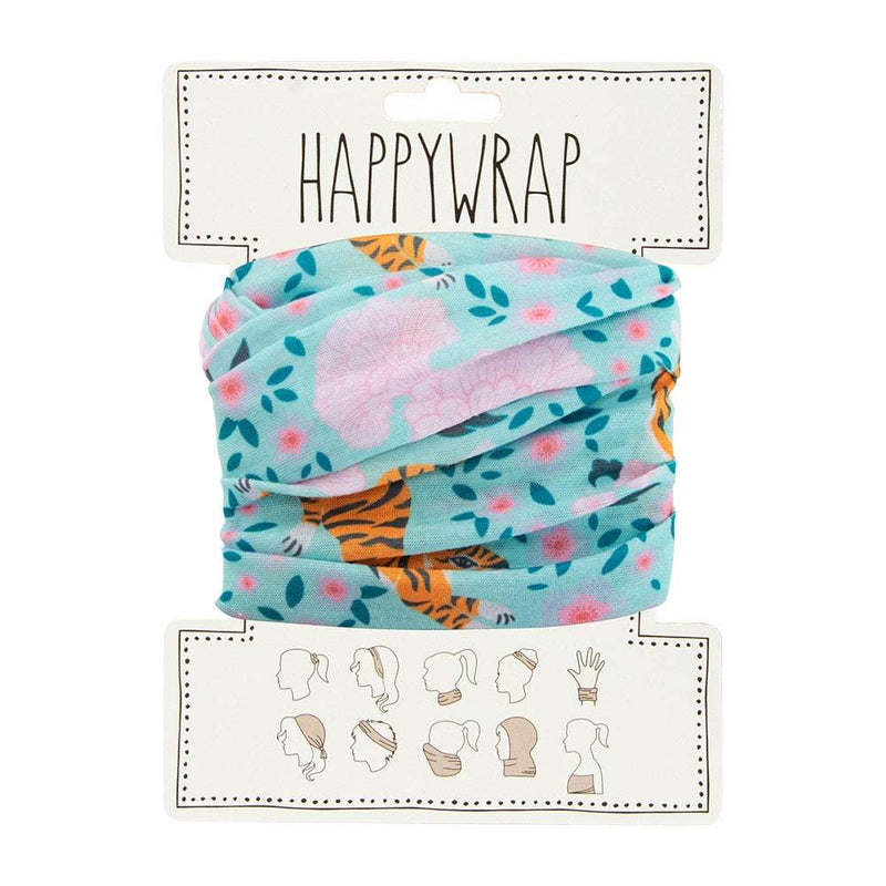 Happywrap for Hair, Head, Wrist or Neck Wrap or Face Mask - Tiger & Peonies