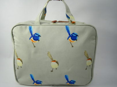 Hanging Fold Out Toiletry Bag in light Grey with Blue Wren Design