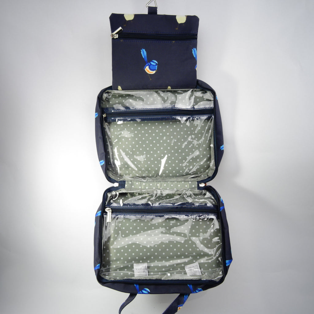 Hanging Fold Out Toiletry Bag in Navy with Blue Fairy Wren