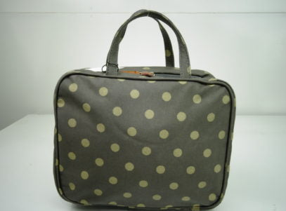 Hanging Fold Out Toiletry Bag in Brown with Polka Dots