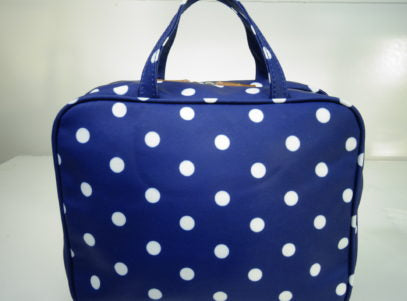 Hanging Fold Out Toiletry Bag in Navy with Polka Dots