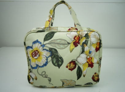 Hanging Fold Out Toiletry Bag in Cream with Orchid and Humming Bird