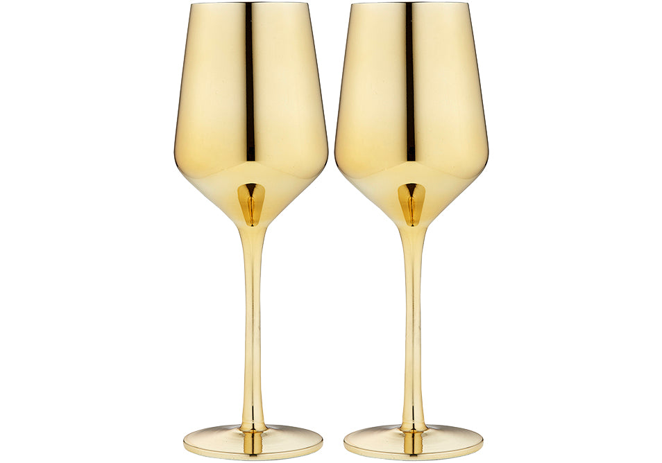 Wine Glass in Gold Set of 2 Gift Boxed