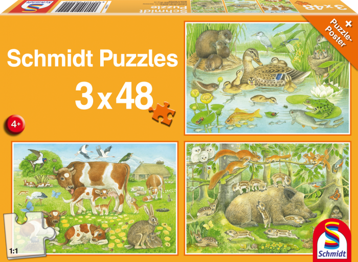 3x48 Jigsaw Puzzle - Animal Families for Ages 4+