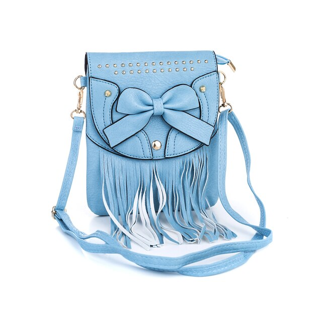 Ladies Shoulder Bag in Pretty Blue with Bow and Fringe Design