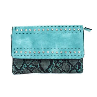 Ladies Shoulder Bag in Teal or Black & Pink With Snake Skin Look and Diamante Finish