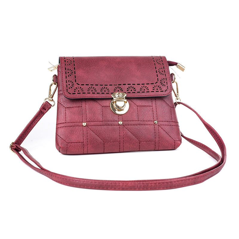 Ladies Shoulder Bag in Wine with Gold Press Clasp