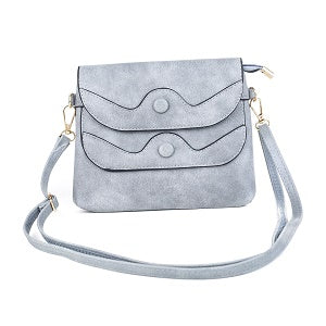Ladies Shoulder Bag in Soft Grey or Sand with Button Design