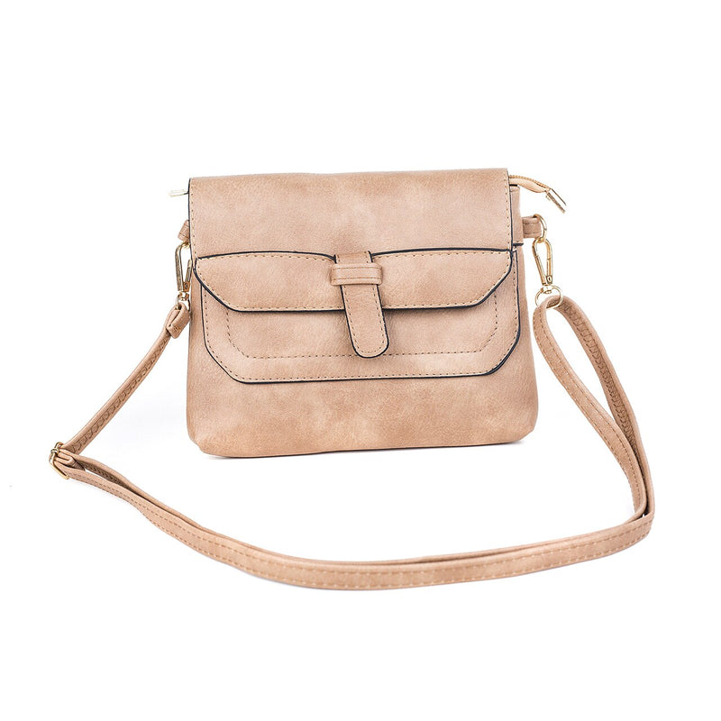 Ladies Shoulder Bag in Sand or Grey with Tongue Design
