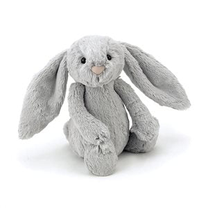 Jellycat Small Silver Bashful Bunny with Fluffy White Tail