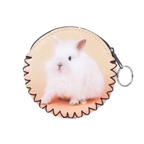 Coin Purse with Keyring and White Rabbit Picture