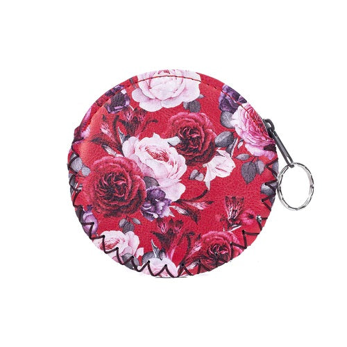 Coin Purse with Keyring in Red with Red & White Roses