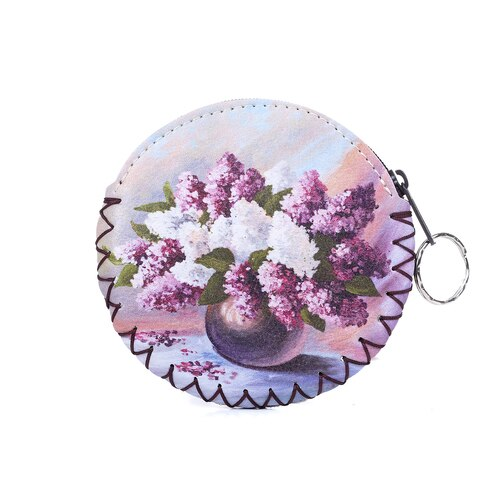 Coin Purse with Keyring in Purple & White Vase