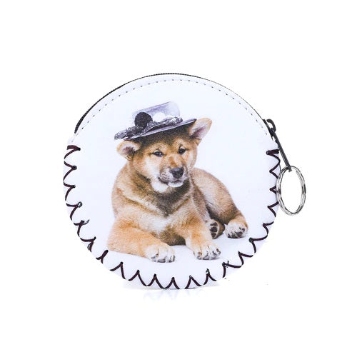 Coin Purse with Keyring in White and Dog with Hat
