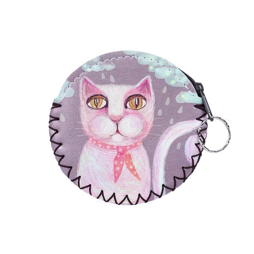 Coin Purse with Keyring in Pinks with Abstract Cat