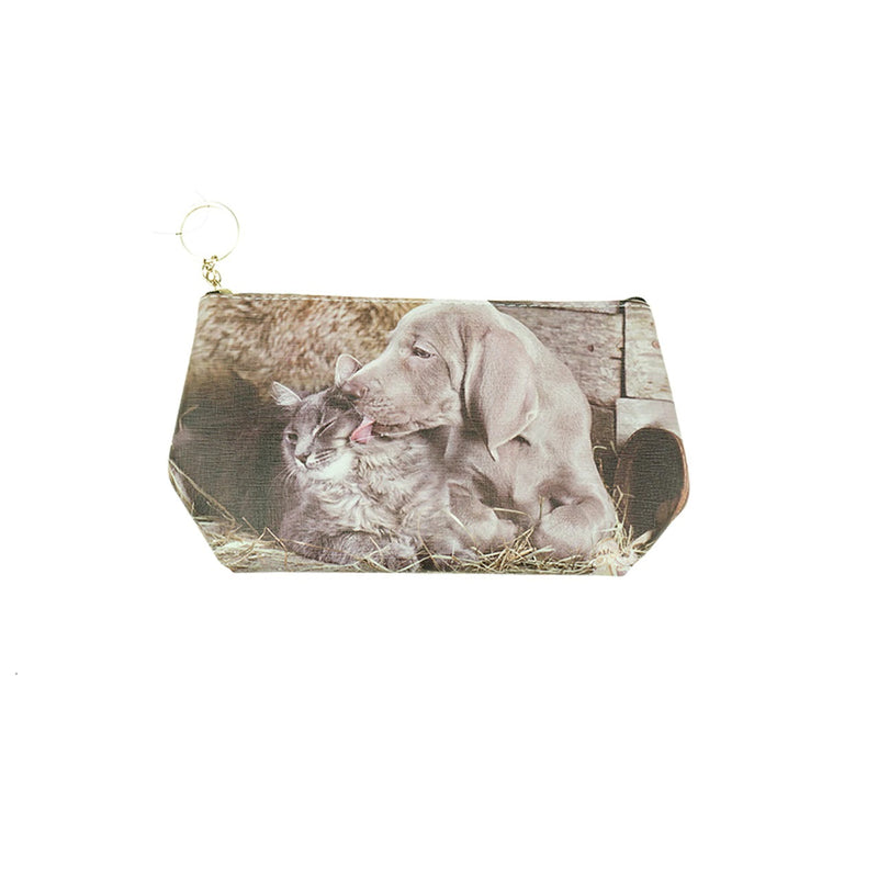 Toiletry Bag with Cat & Dog Friendship Photo Print