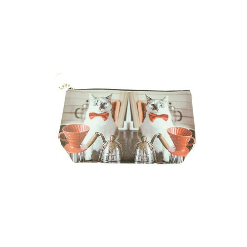 Toiletry Bag with Colour Photo Prints of Two Cats in Bow Ties