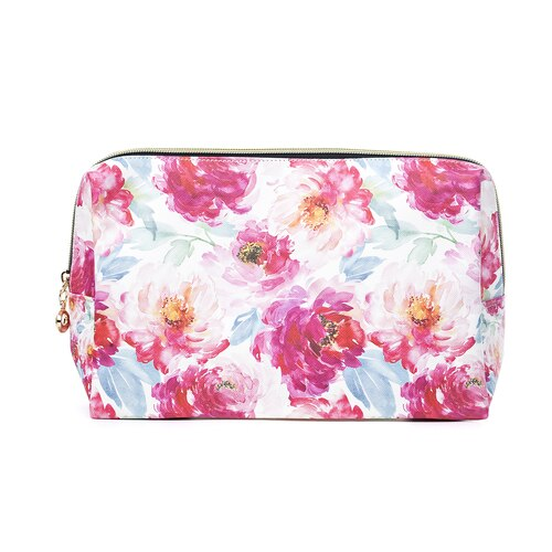 Toiletry/Cosmetic Bag in Pink Floral Print (32x18x10cm)