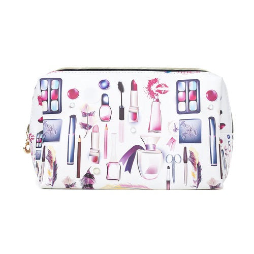 Toiletry/Cosmetic Bag in White with Cosmetic Prints (32x18x10cm)
