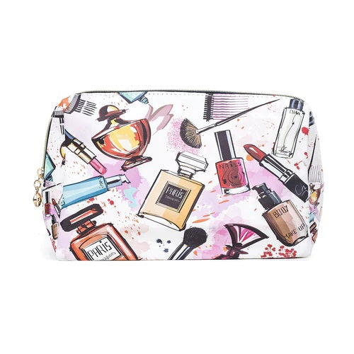 Toiletry/Cosmetic Bag in White with Pictures of Perfume, Cosmetic and Makeup Brushes