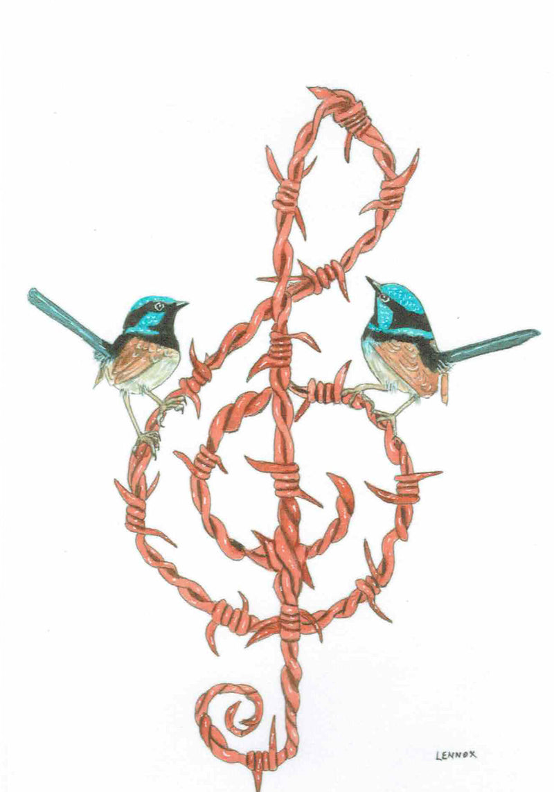 "Card ""Barbed wire blues"" by Tasmanian Artist Grant Lennox"