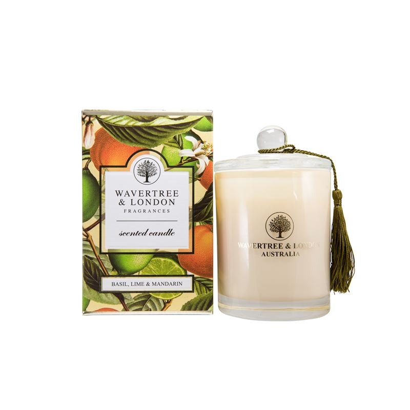 Basil, Lime & Mandarin Scented Candle by Wavertree & London (Made in Australia)