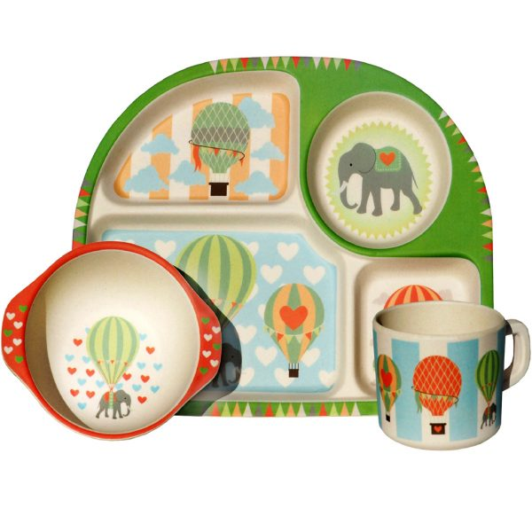 Children's Organic Bamboo Dinner Sets -Hot Air Balloons, Transport or Wild Animals