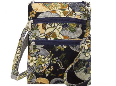 Ladies Cross Body Fabric Bag in Black Japanese Floral