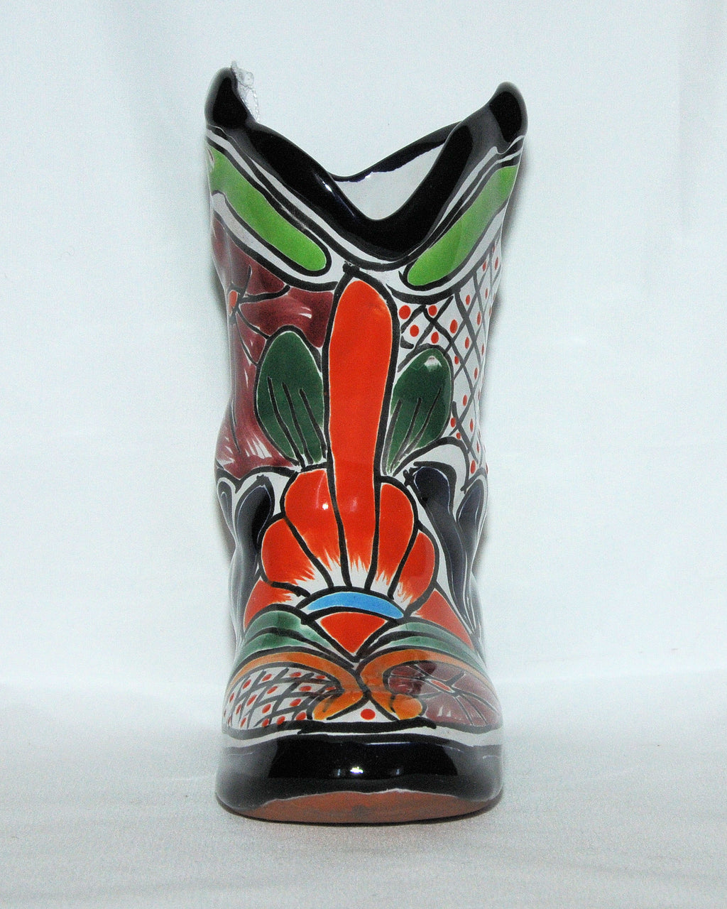 Mexican Talavera Pottery Boot Planter - Small
