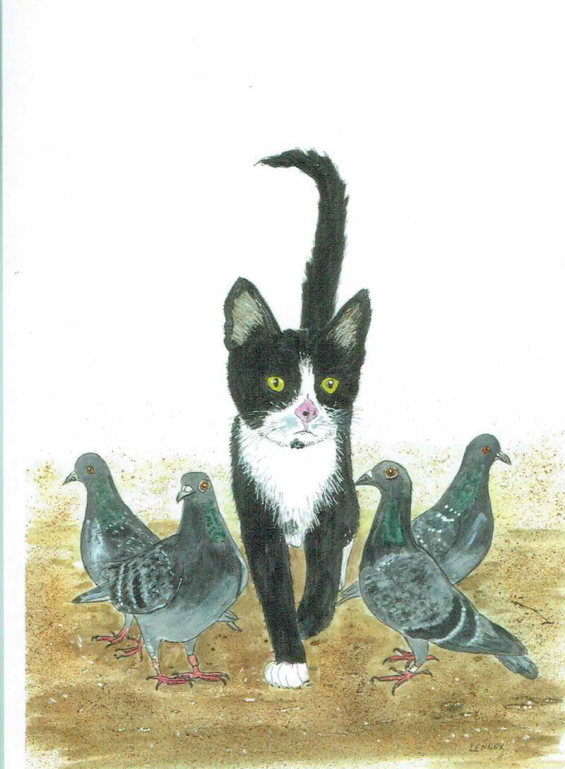 "Card ""Cat Among the Pigeons"" by Tasmanian Artist Grant Lennox"