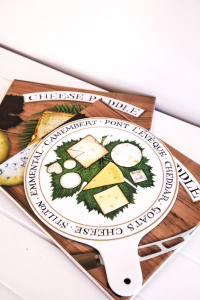 Cheese Paddle in White Porcelain with Cheese & Biscuit Motif