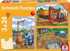 3 x 24 Piece Schmidt Jigsaw Puzzle - Construction Work