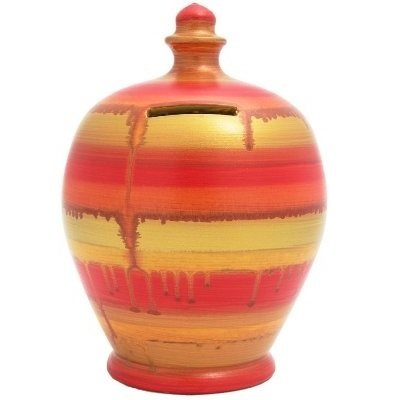 Terramundi Money Pot in Orange & Gold (Made in Italy, Hand Painted in London)