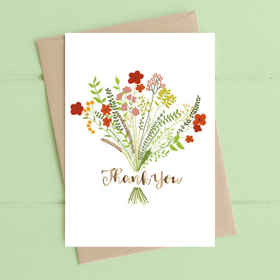 Card - 'Thank You' with Bouquet Design