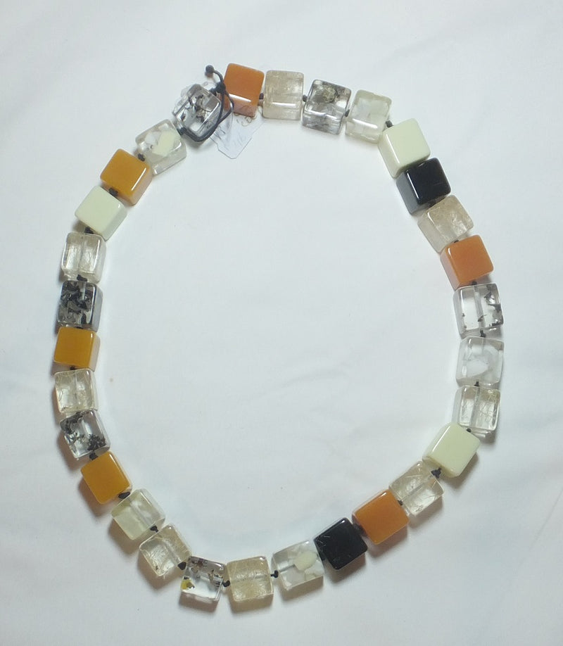 Jewellery – Handmade necklace from Brazil – with cream, black, toffee and mixed transparent cubes
