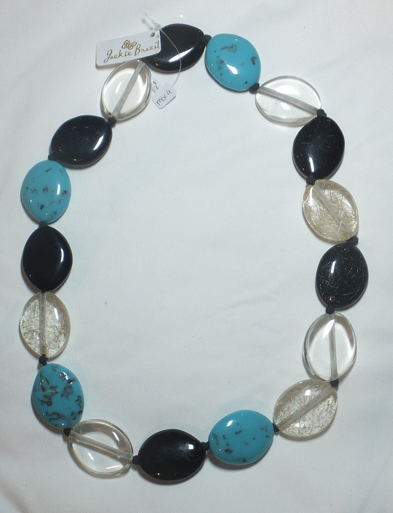 Jewellery – Handmade necklace from Brazil – with black, aqua and mixed transparent riverstonesbeads