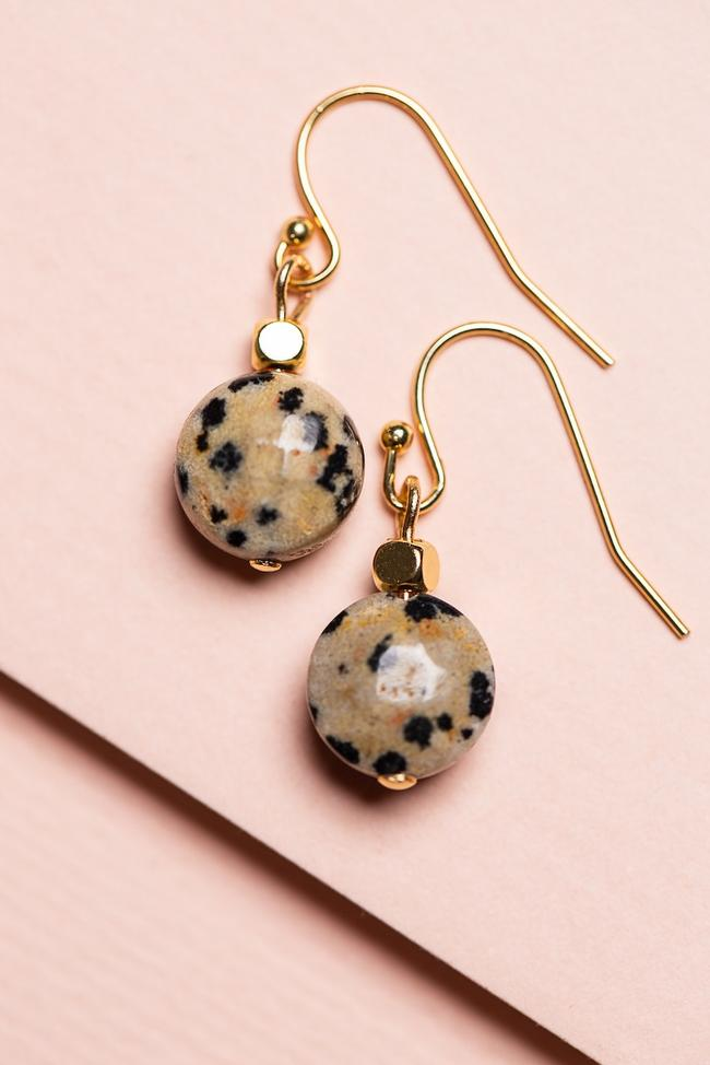 Dalmation Stone Drop Earrings on Gold Hooks