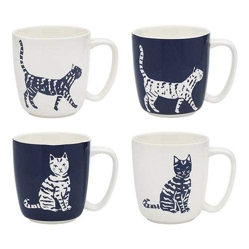 Walking Cat Set of 4 Mugs 300ml by Ecology